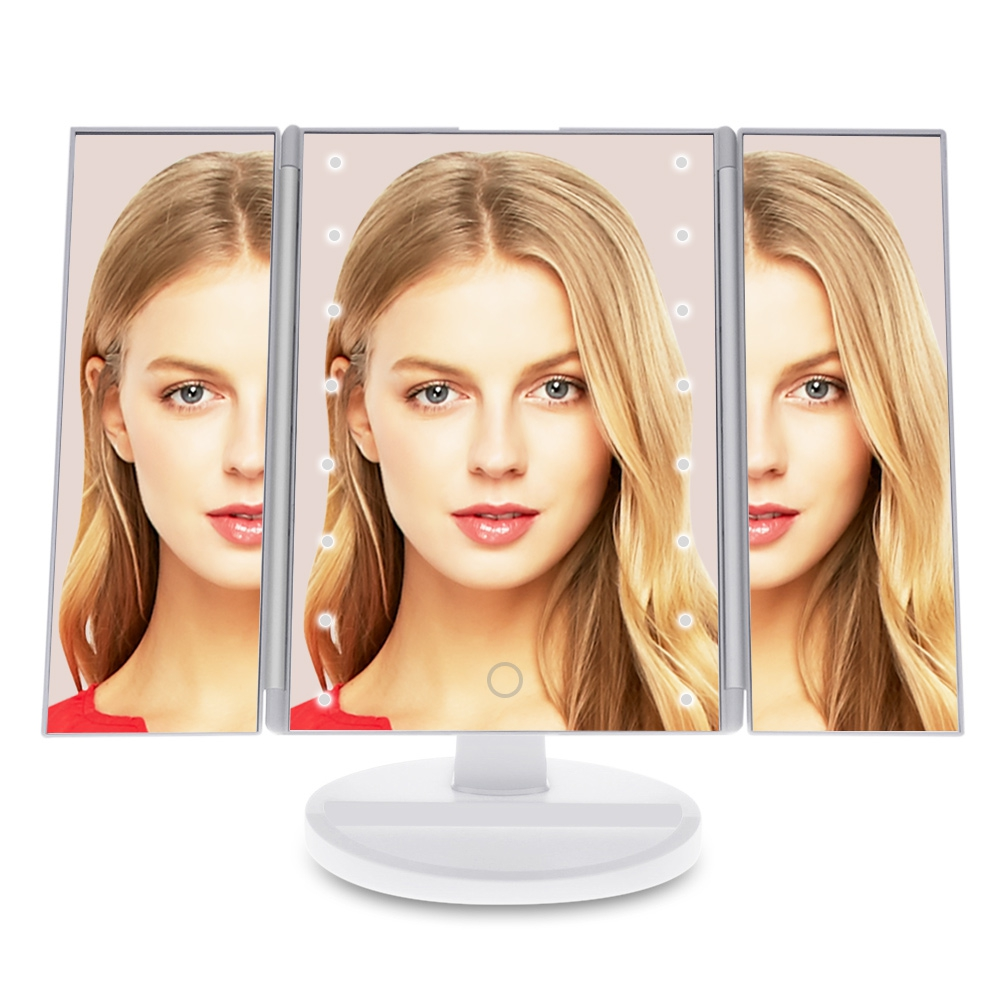 30*20*10cm LED 3 Sides Folding Portable Desktop Makeup Mirror O