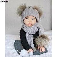 AdorableToddler Baby Girls Boys Warm Hat Winter Hooded Scarf Ear Flap Knitted Cap Set Kids Cute