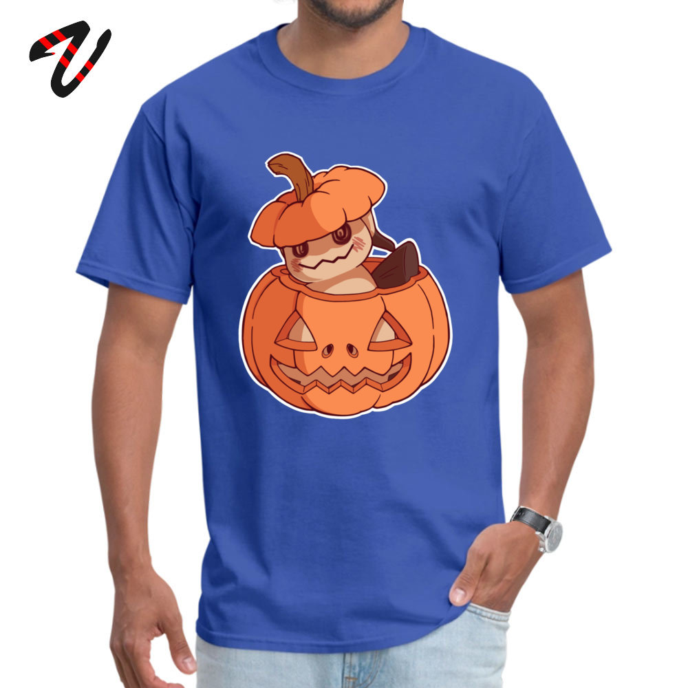 Halloween Mimikyu Normal Top T-shirts for Men Pure Cotton Summer Autumn Tops Shirt Clothing Shirt Short Sleeve Classic Crewneck Halloween Mimikyu 26608 blue