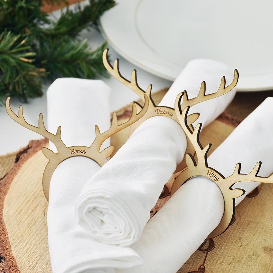 Houten Christmas Party Tafeldecoraties Servet Houders Herten Servetring Kerst/bruiloft Geschenken Napking Ring Gunsten Winst Klein