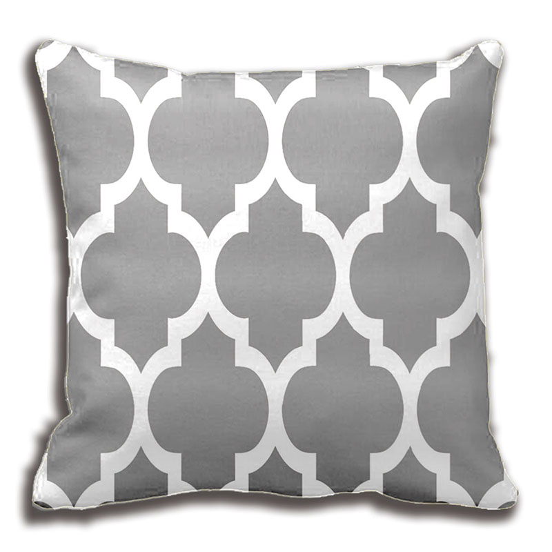 Dark Grey White Moroccan Quatrefoil Pattern Throw Pillow Decorative Cushion Cover Pillow Case ...