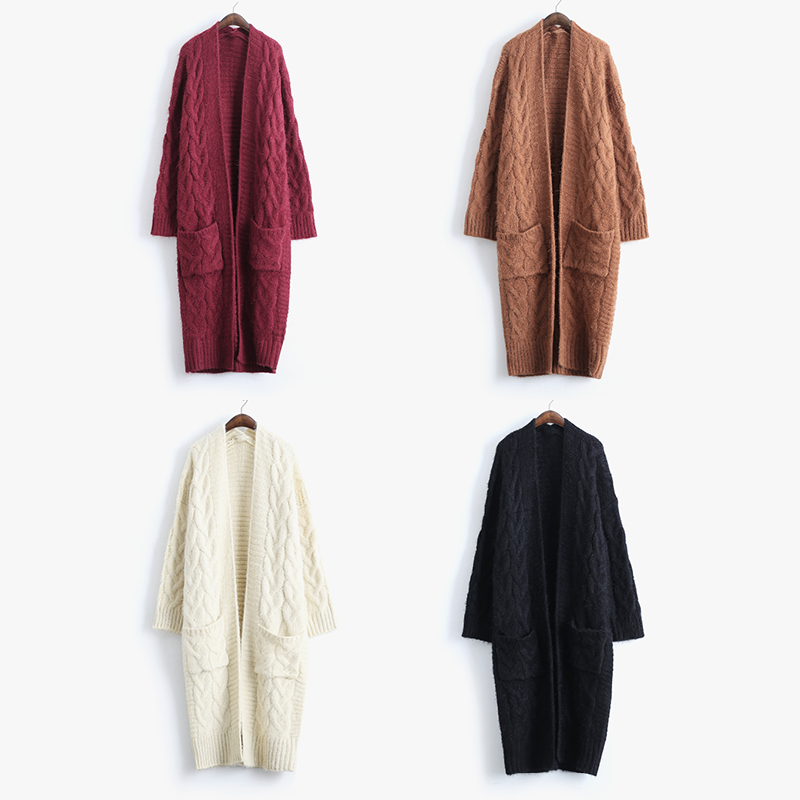 [AIGYPTOS-FMJ]High Quality Women Autumn Warm Ultra Loose Plus Size Thickening Cable Knitted Casual Mohair Cardigan Long Sweater