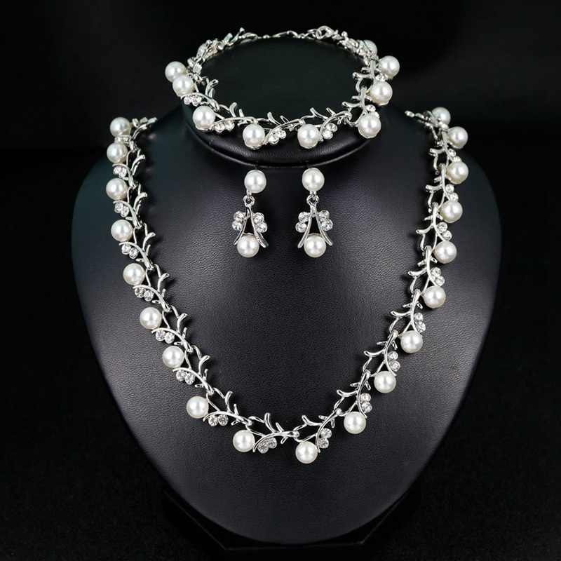 2019 Fashion Bridal Wedding Jewelry Sets Rhinestone Crystal Pearls Necklace Earrings Bracelet Sets For Women Jewelry Gifts