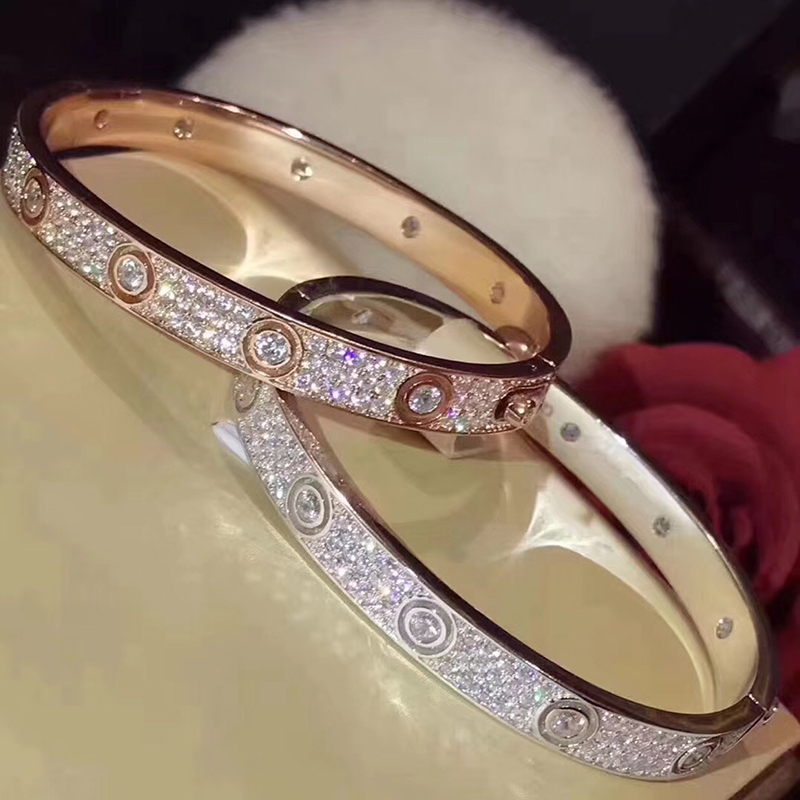 Brand Pure 925 Sterling Silver Jewelry For Women Gold Color Silver Bangle Full Stone Rose Gold