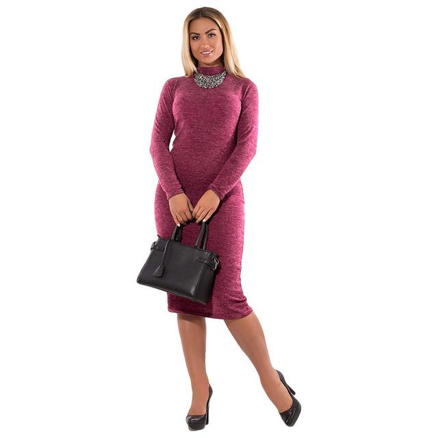 Modern Elegant Women Office Dress Winter Autumn Plus Size Fashionable Long Sleeve