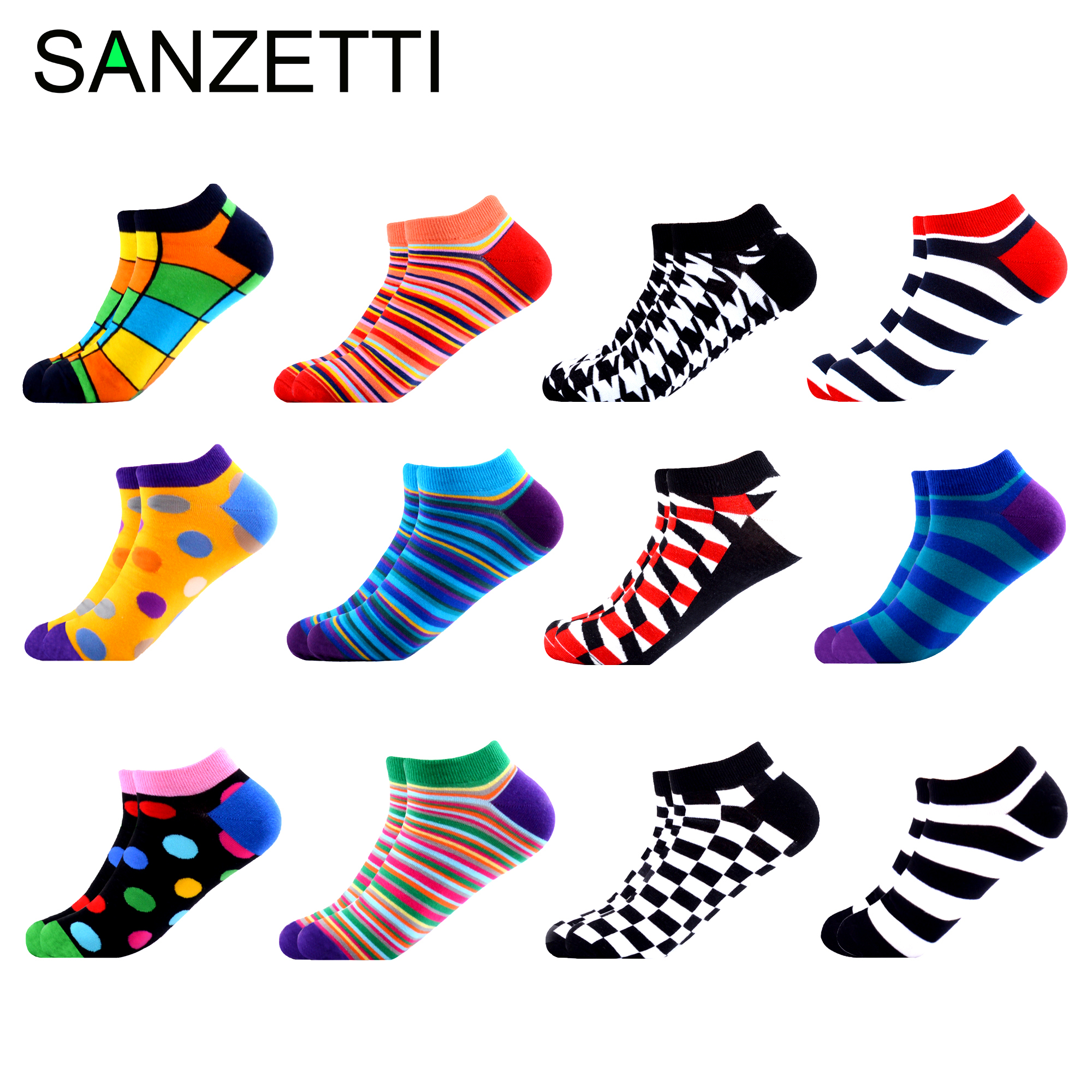 SANZETTI 12 Pairs/Lot Men Summer Happy Combed Cotton   Socks   Casual Plaid Striped Dot Design   Socks   Funny Colorful Dress Gift   Socks