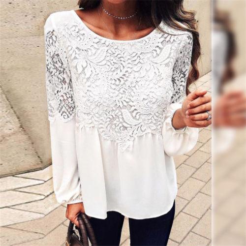 2018 New Women Summer Casual Long Sleeve Lace Chiffon Shirt Fashion Solid
