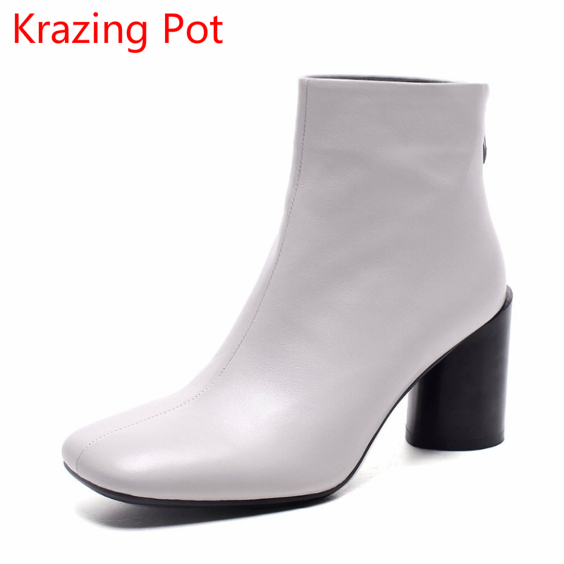 New Arrival Retro Superstar Cow Leather High Heels Streetwear Square Toe Zipper Winter Boots Keep Warm Ankle Boots for Women L85 2018 superstar cow suede streetwear square toe zipper high heels winter boots keep warm office lady ankle boots for women l50