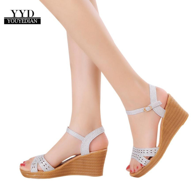 YOUYEDIAN (ship from RU)Women Fish Mouth Platform High Heels Wedge Sandals  Buckle Slope Sandals botas mujer  a4 a7d7c45f0bf3