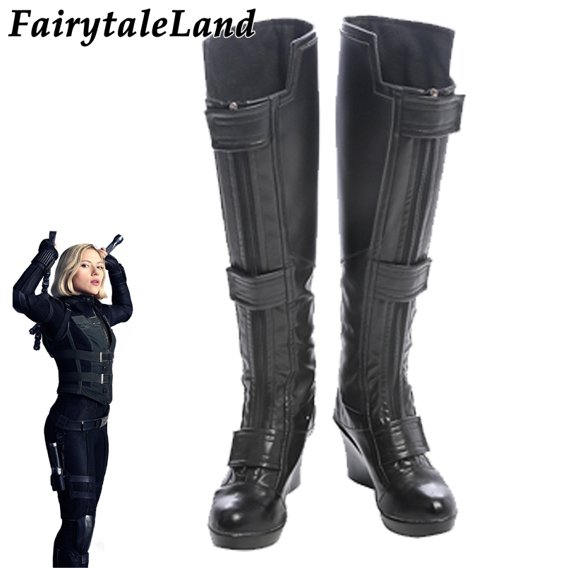 Black Widow Boots Halloween cosplay shoes Cosplay Avengers Infinity War Superhero Black Widow Shoes Women Sexy