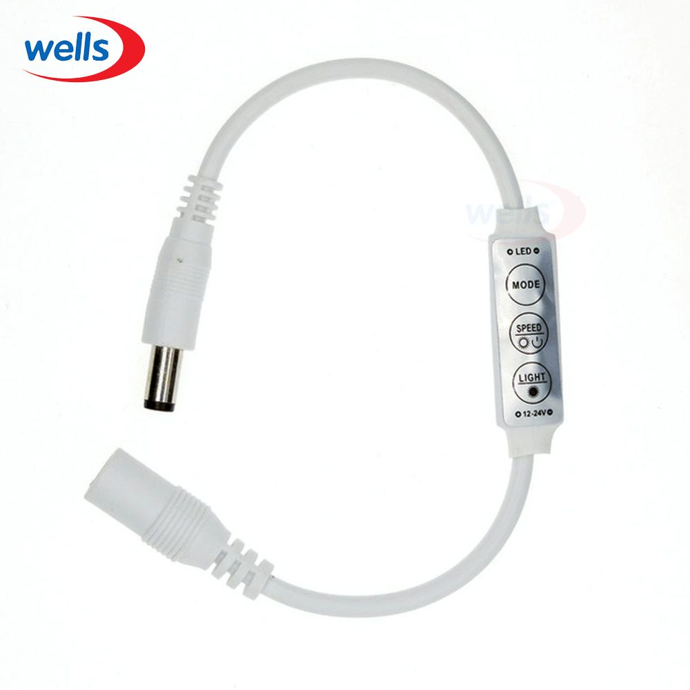 New 1Pcs Mini DC12-24V 3Key Dimmer Controller Switch  Dual DC Plug For Single Color 5050 3528 5630 5730 3014 Led Strip Light