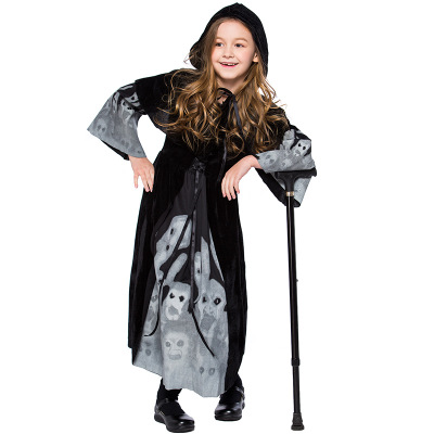 girls 3D skull skeleton printed Witch cosplay costumes for kids Child Halloween Purim Carnival party fancy dress clothing set
