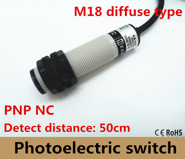 1PC M18 diffuse type PNP NC DC 3 wires photoelectric sensor detection distance 50cm adjustable photocell switch normally close1PC M18 diffuse type PNP NC DC 3 wires photoelectric sensor detection distance 50cm adjustable photocell switch normally close