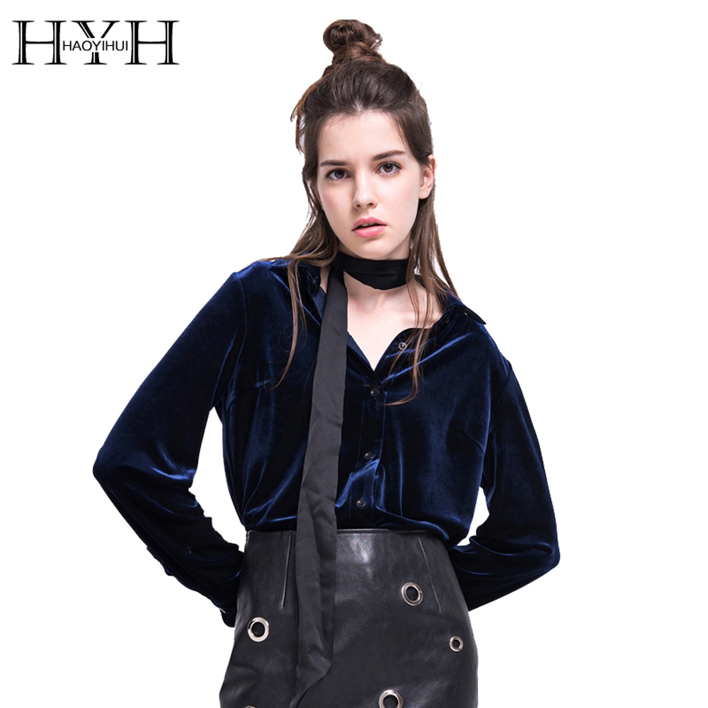 Hyh Haoyihui Women Long Sleeve Shirt Dark Blue Velvet