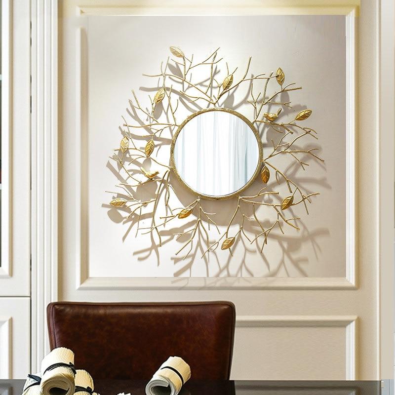 현대 단 철 크리 에이 티브 벽 교수형 액세서리 장식 거울 홈 거실 소파 배경 벽 벽화 공예 거울-에서벽걸이 스티커부터 홈 & 가든 의  그룹 1