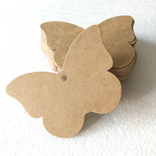 100Pcs DIY Kraft Paper Tags Brown Butterfly Label Luggage Wedding Note Blank Price Hang Tag Kraft Gift 7.2x5.2 Cm Party Favors