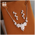 Our bride suit all-match simple clavicle chain ear female chain set zircon crystal wedding dress accessories