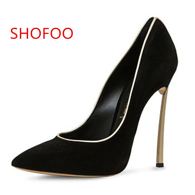 0917fe5ac381b Beautiful and stylish free shipping, black (red, pink, blue suede), 11 cm  stiletto pumps, pointed pumps.SIZE:34-45
