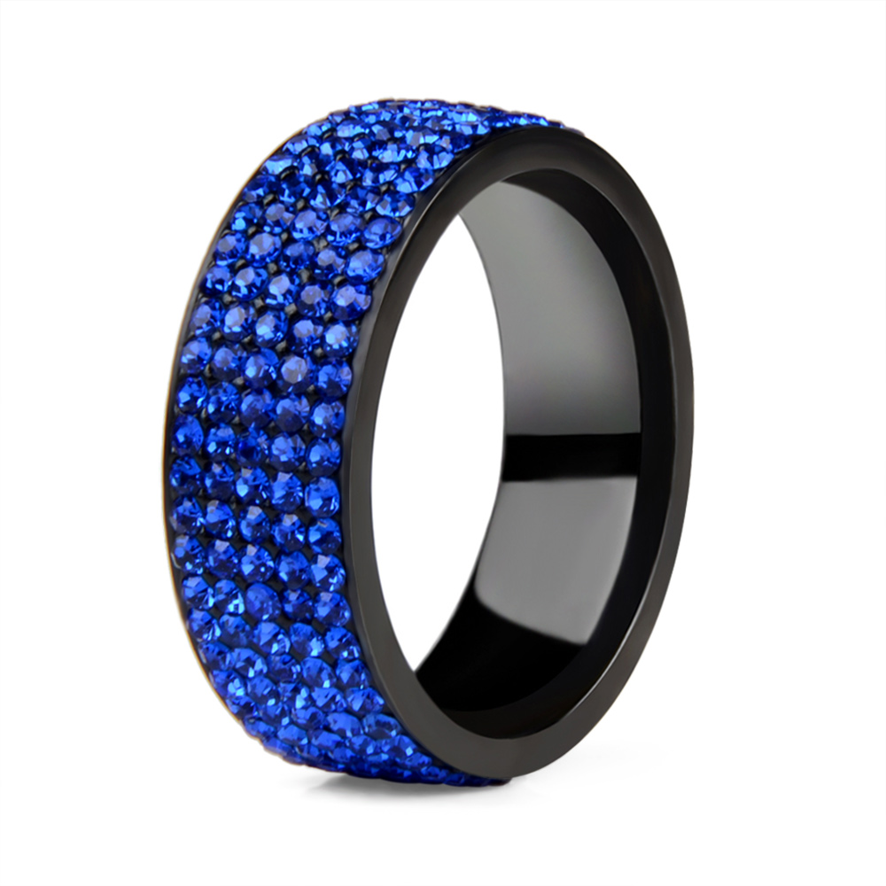 High Quality Punk Rock Stainless Steel Black Ring Men Blue Red Green Crystal Ring For Women Wedding Ring Jewelry 6 7 8 9 10 11