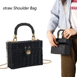 Rattan Black Straw Bag Women hand-woven Messenger Bag Summer Beach Square Box  Handbag For lady Bolsa Feminina
