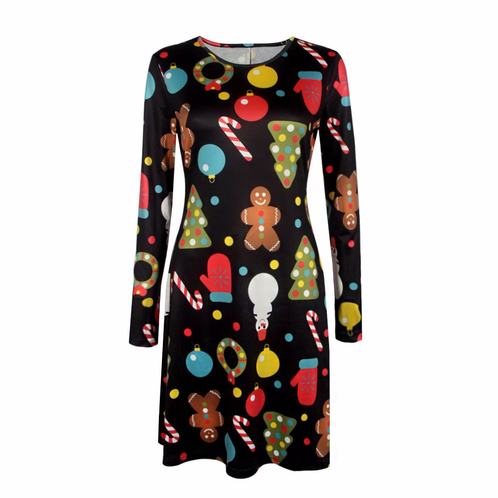 4XL 5XL Big Size Casual Print Cartoon Christmas Tree Cute Loose Dress Autumn Winter A-Line Dresses 18 Plus Size Women Clothing 6