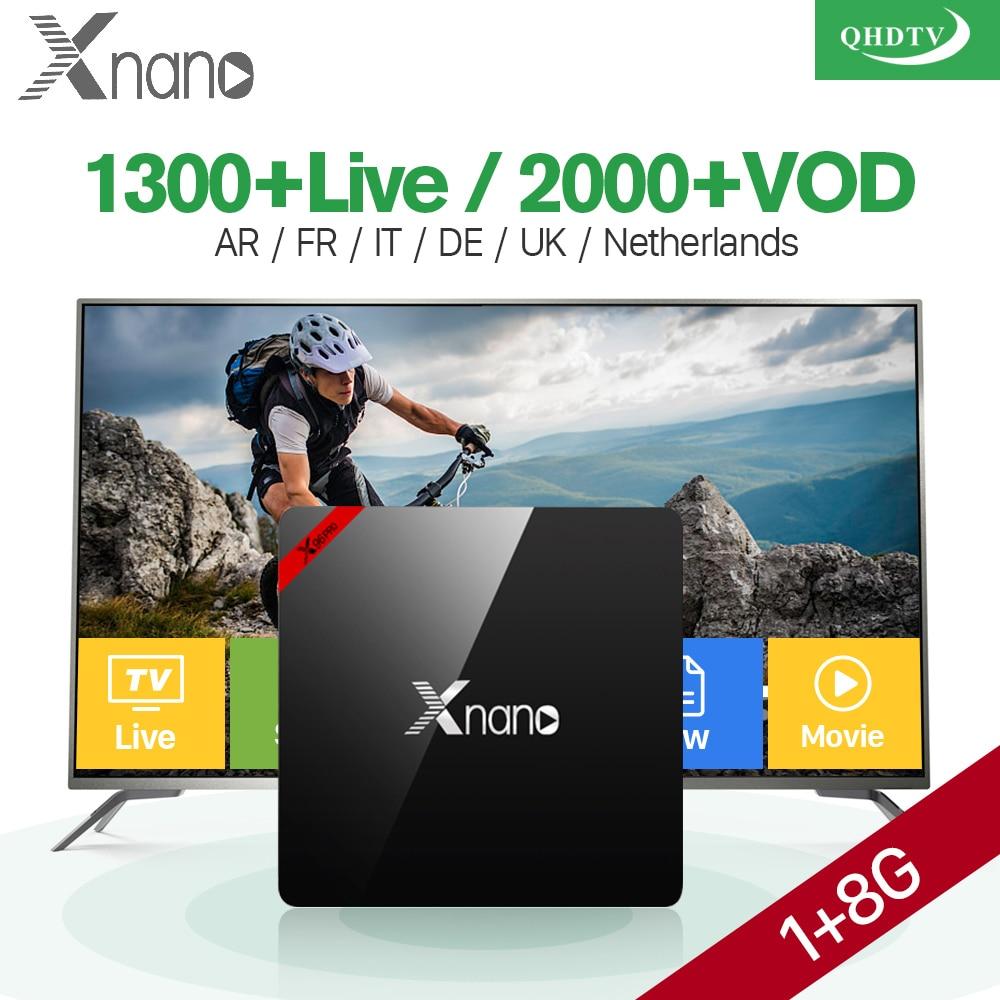 Arabic TV Box Smart Android 6.0 XNANO S905X Quad Core 2.4G WIFI Europe French 1300 Channels QHDTV Code IPTV Abonnement android box s912 t95zplus europe french arabic iptv channels smart tv 1300 live hd wifi media player set top box