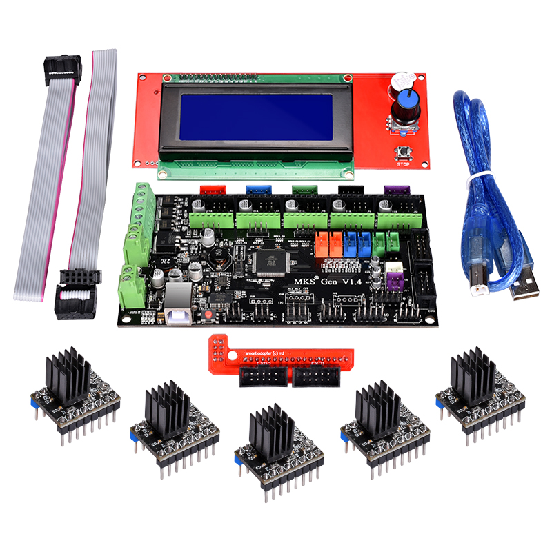 Pièces d'imprimante 3D MKS Gen V1.4 Kits de carte de commande 2004 LCD RepRap Ramps1.4/Mega2560 R3 avec lecteur TMC2100/TMC2130/TMC2208/DRV8825