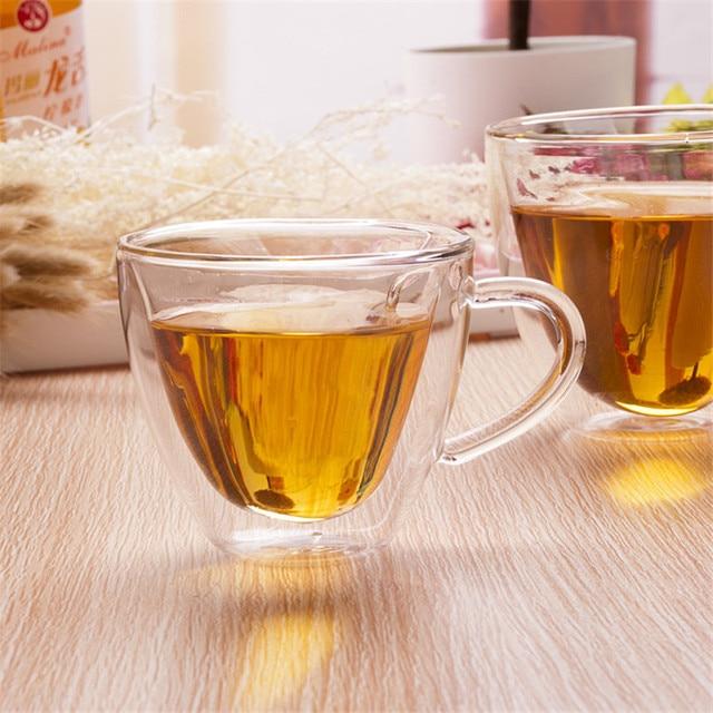 Heart Love Shaped Double Wall Glass Mug Resistant Kungfu Tea Mug Milk Lemon Juice Cup Drinkware Lover Coffee Cups Mug Gift 3