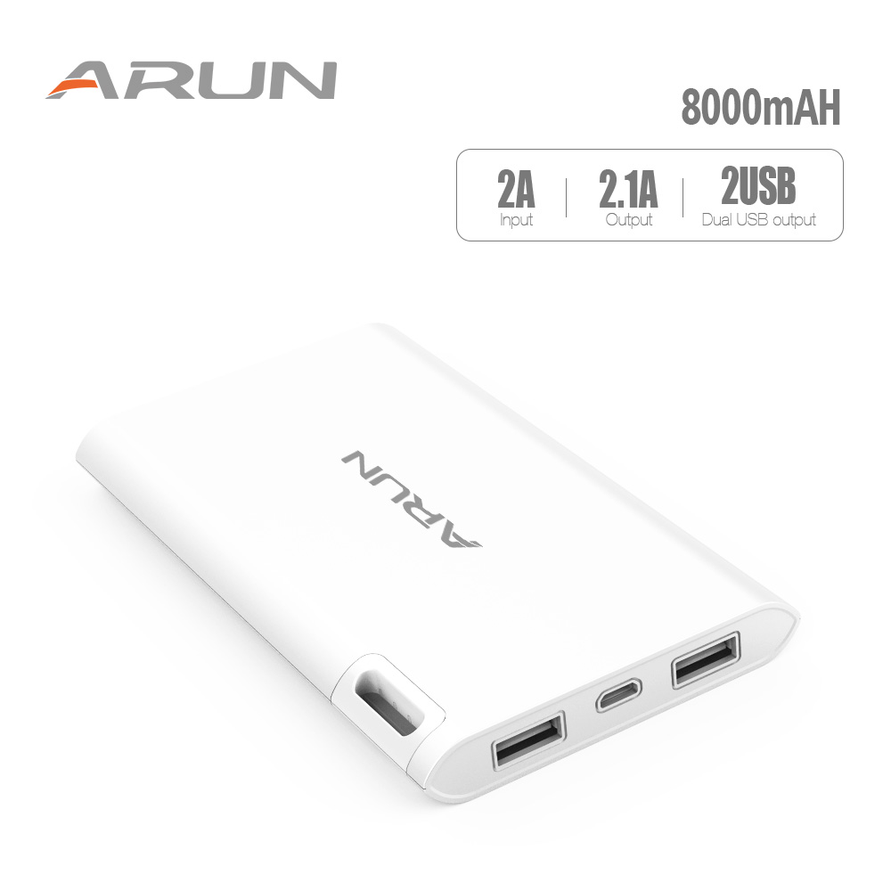 ARUN Power Bank 8000 mAh Dual USB For Xiaomi Mi Fast Charging PowerBank J208 Charger External Battery For Phone Power Bank