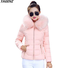 Winter Women Jacket 2017 New Short Female Coat Hooded Fur Collar Warm Cotton Down Jacket Casual