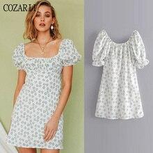 COZARII 2019 summer dress women vestidos casual style print square collar short sleeve mini de fiesta party