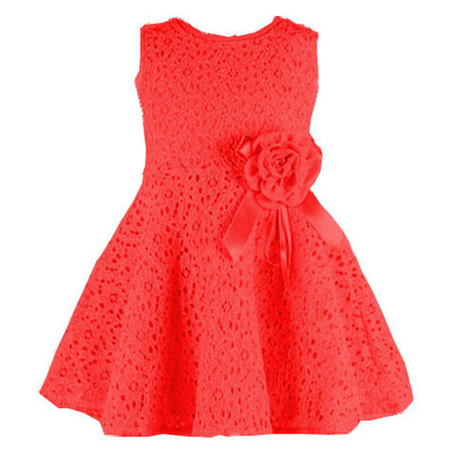 2018 Summer Baby Dress Lace Flower Sleeveless Newborn Baby Girl Dress 0-2 Years Infant Girl Princess Dress
