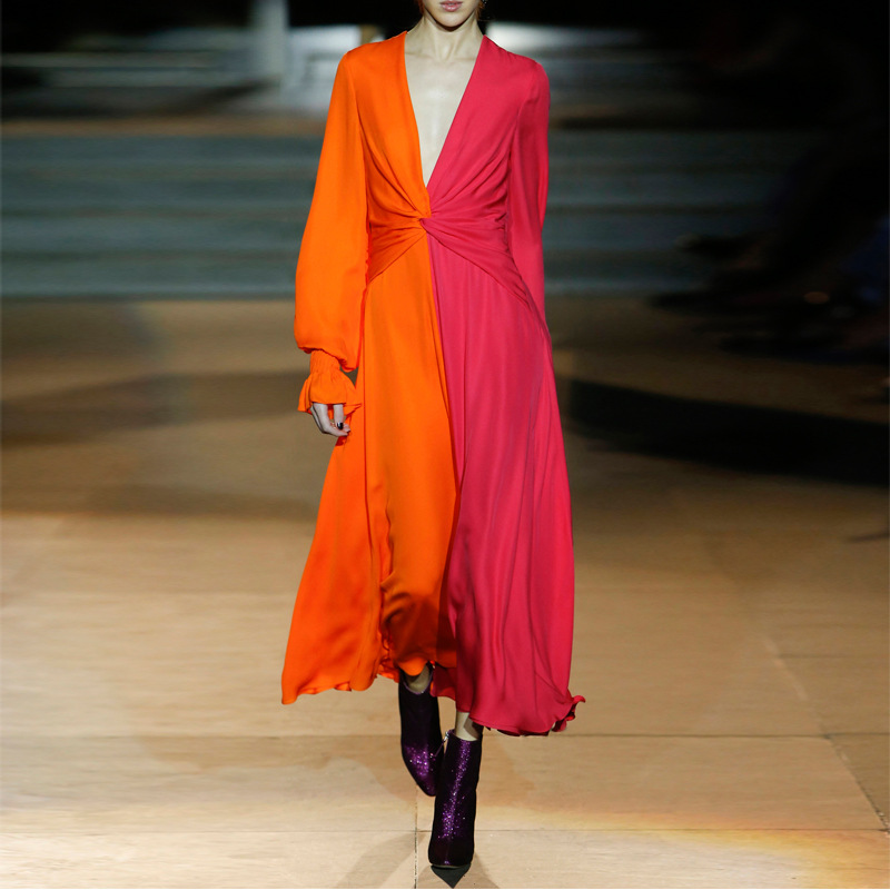 ae13e765d3 2019 Spring Full Sleeve Long Party Dress Womens High Quality Orange and  Purple V Neck Fashion