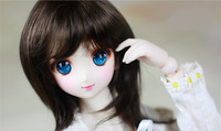 1/4 BJD SD DD doll wigs Imitation mohair brown black color medium length hair suitable for 22 24cm doll head circumference