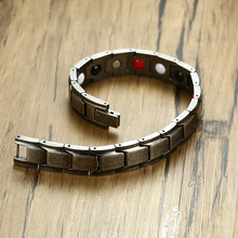 Vintage Bio Germanium Magnetic Bracelet For Men Jewellery Stainless Steel 4-in-1 Therapy Braslet Pulseras bileklik Male Jewelry(China)