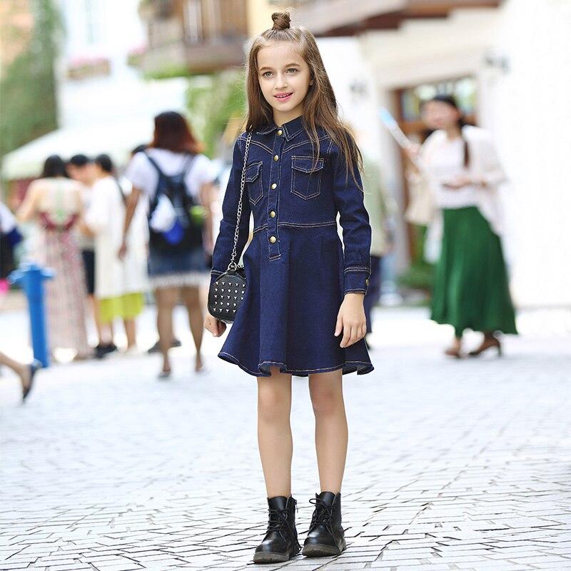 ФОТО Special Offer Knee-length Full Elsa Dress Girls Dress Jean Autumn Winter Children Long Sleeved Dark Girl Slim A-line A New 283#