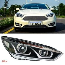 Dynamic Turn Signal LED Headlight DRLs Bi Xenon Projector Lens Fit For Ford Focus 2015