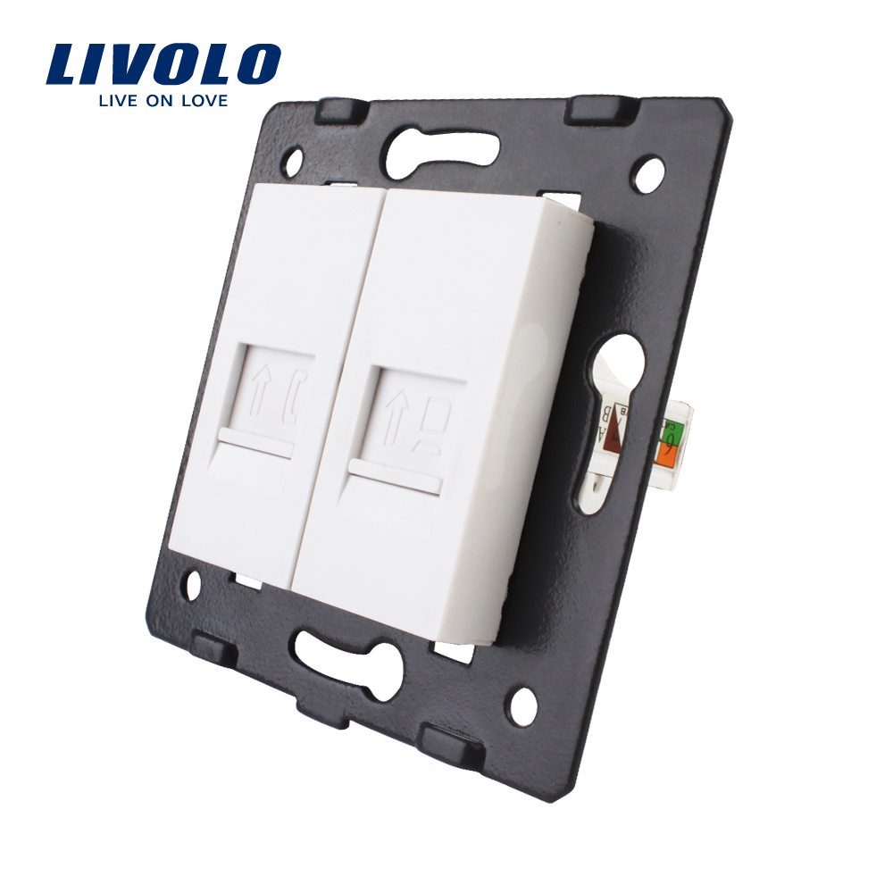 Manufacture Livolo,Wall Socket Accessory, The Base Of Telephone,Computer Socket,TV ,sound,video,microphone Outlet ,white Color