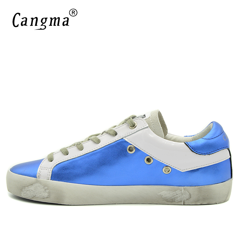Image 4 - CANGMA Blue Shoes Leather Men Genuine Men Casual Platform  Sneakers Shoes Adult Male Breathable Footwear For Men Valentine  ShoesMens Vulcanize Shoes