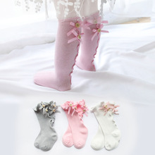 Cute Princess Baby Girls Socks Knee High With Bow Socks Girl Sweet Baby Socks Long Tube Socks For Boots Kids Children Leg Warmer 1 pack cotton girls socks long baby knee high socks cat style princess kids socks girl cute baby sock baby girl clothes 30cm