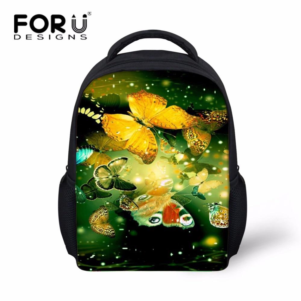 FORUDESIGNS Pretty Little Girls Butterfly School Bags Multicolor Nursery Child Baby Bookbag Kindergarten Kids Bagpack Polyester