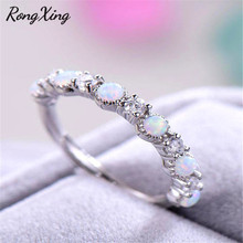 Opal-Ring Zircon Stone Wedding-Bands Rose-Gold Single-Row Silver-Color White Rongxing