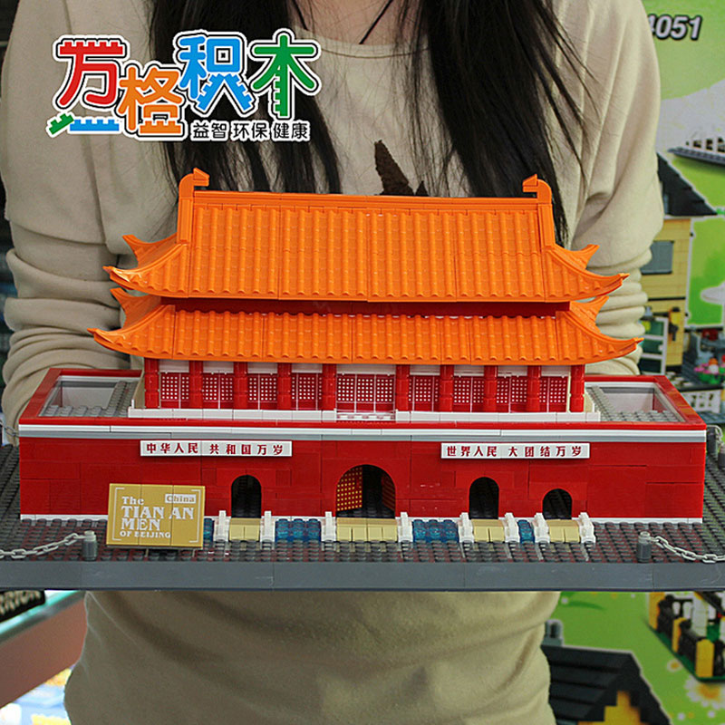 WanGe 8016 DIY Beijing Tiananmen Square 758Pcs Large building block model city building 3D Educational Children Toys decool 3114 city creator 3in1 vehicle transporter building block 264pcs diy educational toys for children compatible legoe