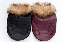 FP10 Free Shipping Pet Dog Leather Jacket Clothes Winter Warm Fur Collar Teddy Small Dog Coat