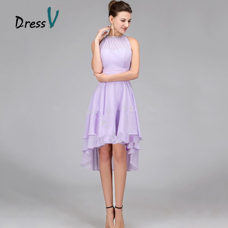 Cheap Lavender Chiffon High Low Bridesmaid Dresses 2017 Hot Sale ...