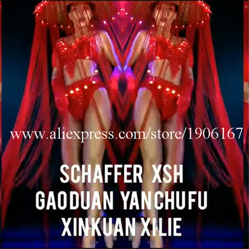 Nightclub GOGO female models Chinese style LED lights tassels red big hats Mid-Autumn National Day theme costumes0