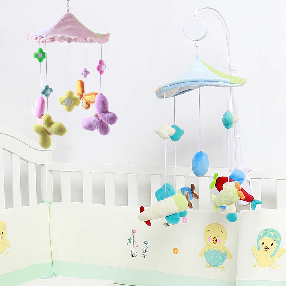 Baby Bed Bell Toys Rotating Mobile Butterfly Aircraft Baby Rattles Crib Holder Arm Music Box Bracket Infant Puzzle Game Gift Toy