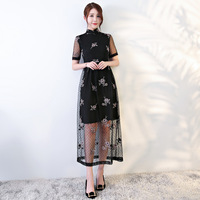 New Arrival Traditional Chinese Style Evening Dress Women Embroidery Flower Slim Qipao Vintage Elegant Cheongsam Size