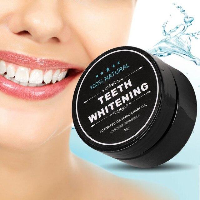 Nuevo 60g polvo blanqueador de dientes activado carbón de coco dientes naturales blanqueamiento de carbón en polvo Tartar eliminación de manchas
