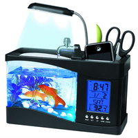 Vintage Usb Mini Fish Tank Desktop Electronic Aquarium Mini Fish Tank With Water Running LED Pump